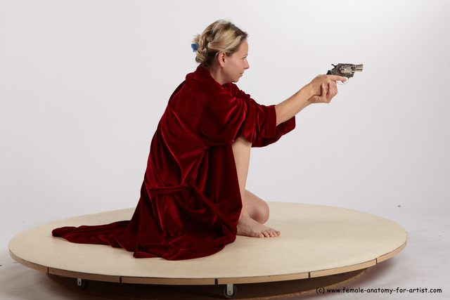 Drape Fighting with gun Woman White Kneeling poses - ALL Average Kneeling poses - on one knee medium blond