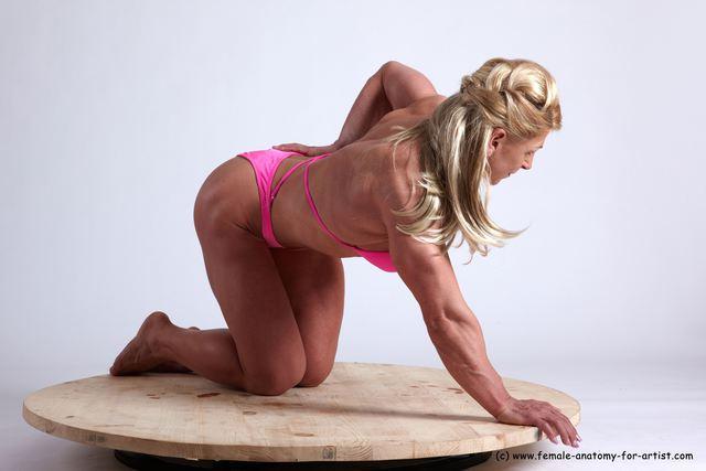 Swimsuit Woman White Kneeling poses - ALL Muscular Kneeling poses - on both knees medium blond