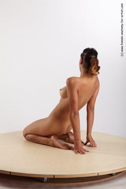Nude Woman Multiracial Moving poses Slim long black