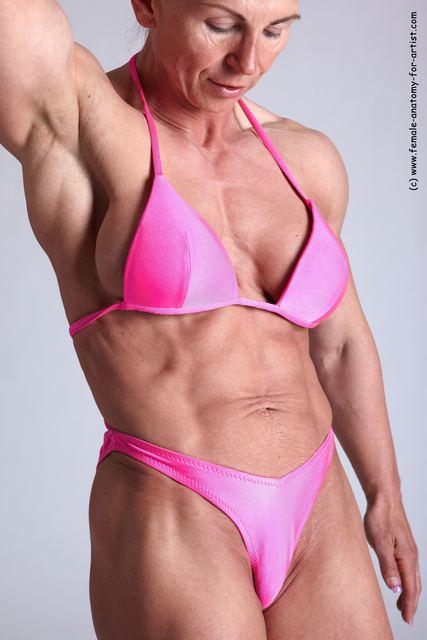 Swimsuit Woman White Detailed photos Muscular medium blond