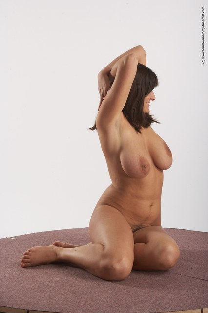 Nude Woman White Sitting poses - ALL Average long brown Sitting poses - simple