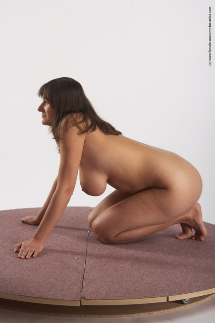 Nude Woman White Sitting poses - ALL Average long brown
