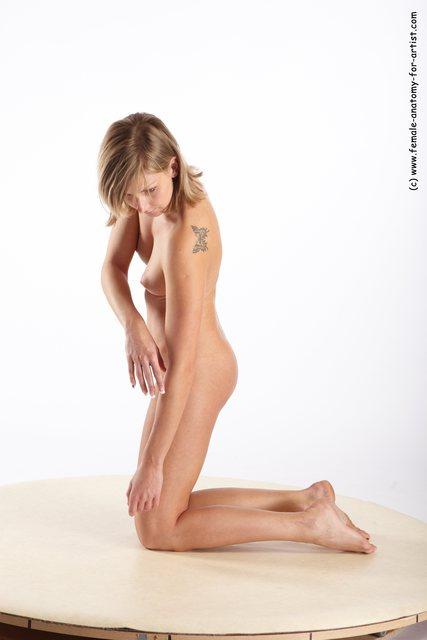 Nude Woman White Kneeling poses - ALL Slim medium blond