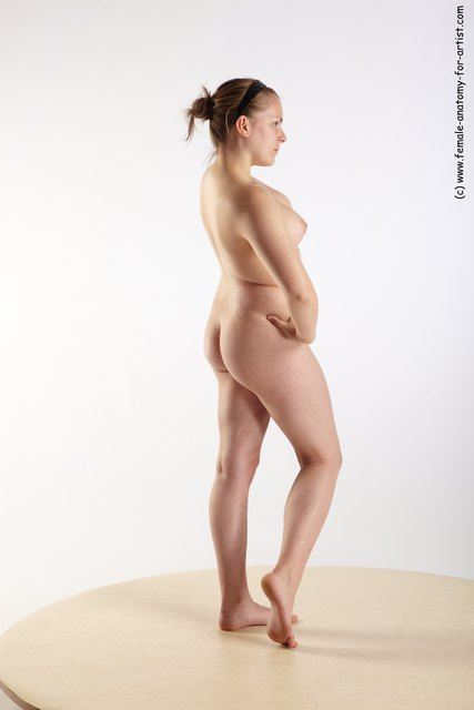 Nude Woman White Standing poses - ALL Slim medium brown Fighting with axe Standing poses - simple