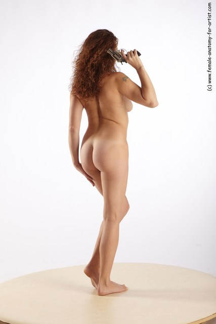 Nude Fighting with gun Woman White Standing poses - ALL Slim long red Standing poses - simple