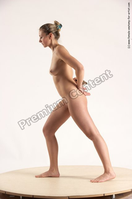 Nude Fighting with gun Woman White Standing poses - ALL Slim long blond Standing poses - simple Multi angle poses