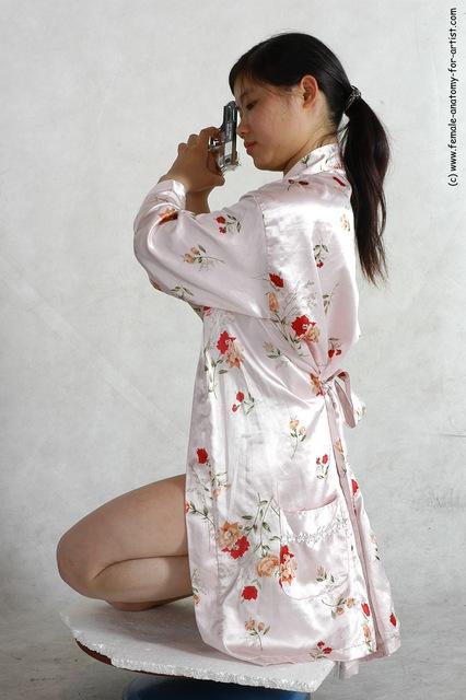 Drape Fighting with gun Woman White Detailed photos Slim long black