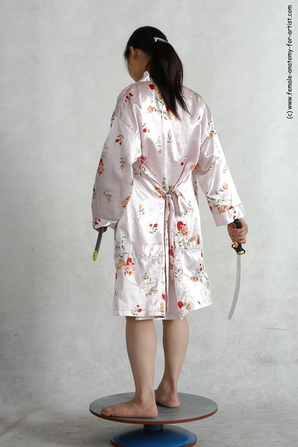 Drape Fighting with sword Woman White Standing poses - ALL Slim long black Standing poses - simple