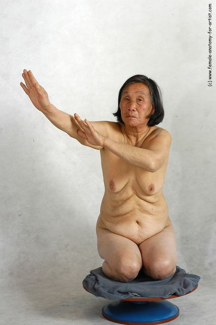and more Nude Woman Asian Kneeling poses - ALL Slim Kneeling poses - on one knee medium black
