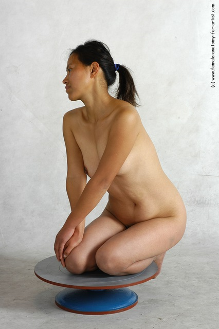 Nude Woman Asian Sitting poses - ALL Slim long black Sitting poses - on knees