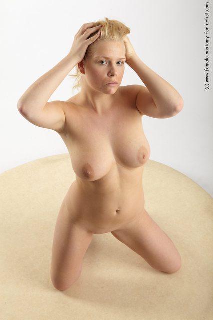 Nude Woman White Kneeling poses - ALL Slim Kneeling poses - on both knees long blond