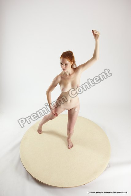 Nude Woman White Standing poses - ALL Slim long red Standing poses - simple Multi angle poses