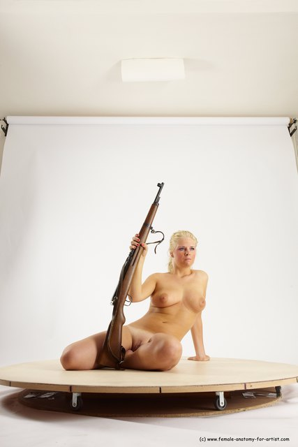 Nude Woman White Sitting poses - ALL Slim Fighting with rifle long blond Sitting poses - simple Multi angle poses