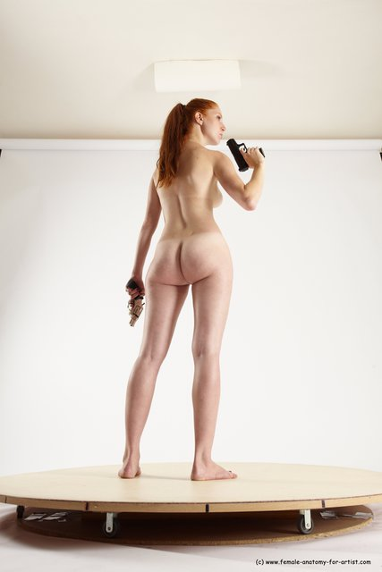 Nude Fighting with gun Woman White Standing poses - ALL Slim long red Standing poses - simple Multi angle poses
