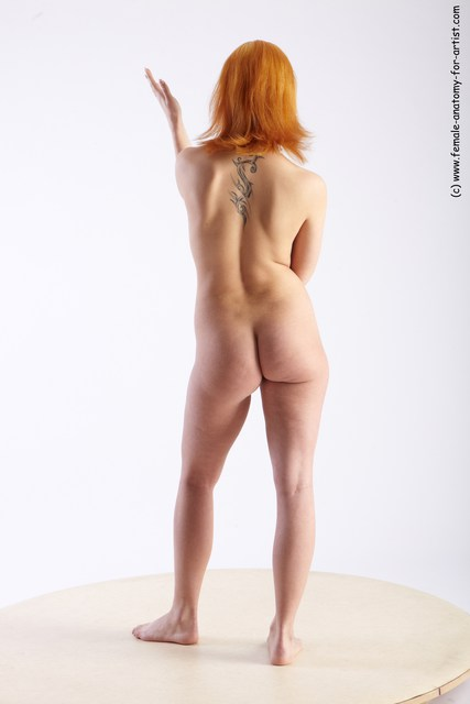 Nude Woman White Standing poses - ALL Slim medium red Standing poses - simple