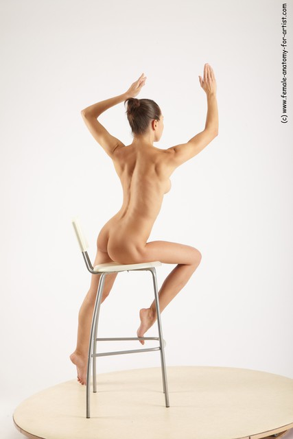 Nude Woman White Sitting poses - ALL Slim long brown Sitting poses - simple
