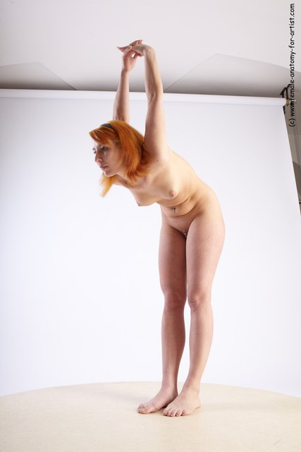 Nude Woman White Standing poses - ALL Slim Standing poses - bend over long red