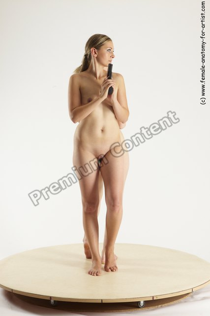 Nude Fighting with gun Woman - Woman White Standing poses - ALL Slim long blond Standing poses - simple Multi angle poses