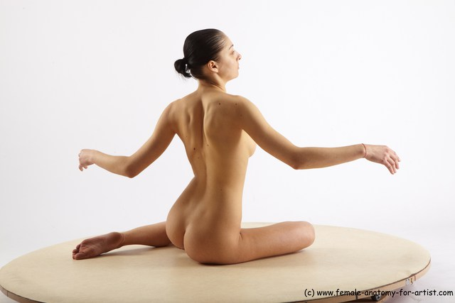 Nude Woman White Standing poses - ALL Slim long brown Standing poses - simple