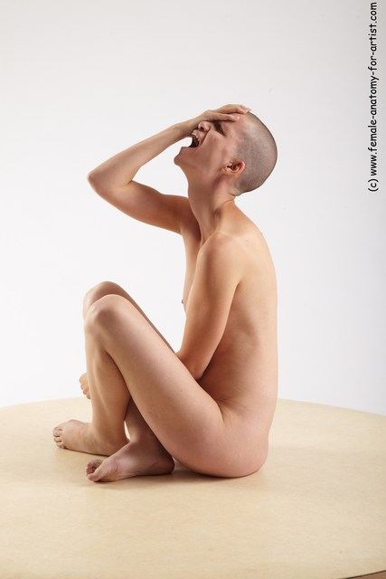 Nude Woman White Sitting poses - ALL Slim bald Sitting poses - simple