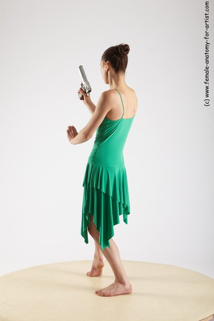 Casual Fighting with gun Woman White Standing poses - ALL Slim long brown Standing poses - simple
