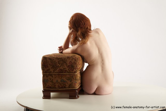 Nude Woman White Laying poses - ALL Slim Laying poses - on side long red