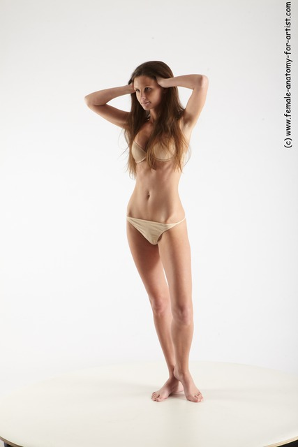Underwear Woman White Standing poses - ALL Athletic long brown Standing poses - simple