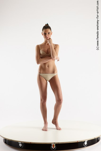 Underwear Woman White Standing poses - ALL Athletic long brown Standing poses - simple Multi angle poses