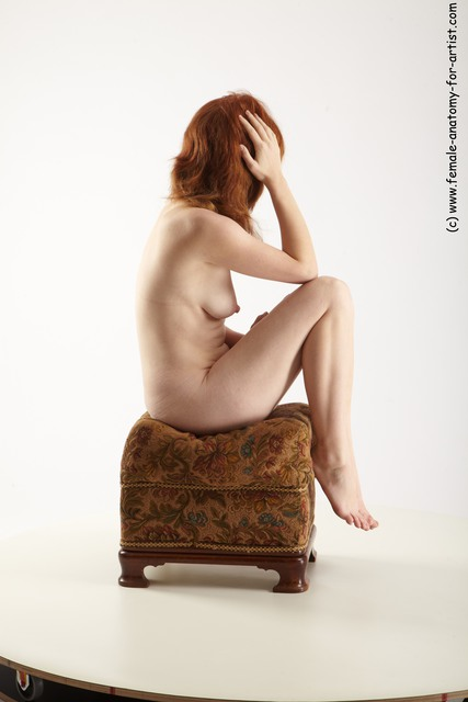 Nude Woman White Sitting poses - ALL Slim long red Sitting poses - simple