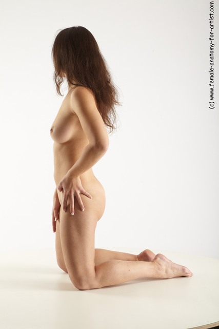 Nude Woman White Kneeling poses - ALL Slim Kneeling poses - on both knees long brown
