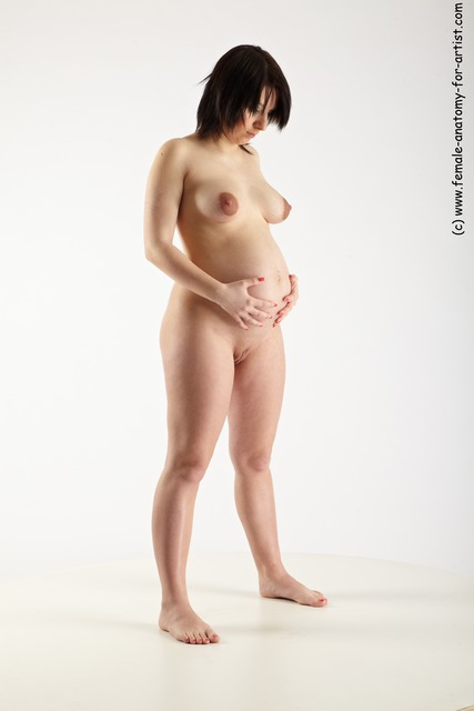 Nude Woman White Standing poses - ALL Pregnant long brown Standing poses - simple