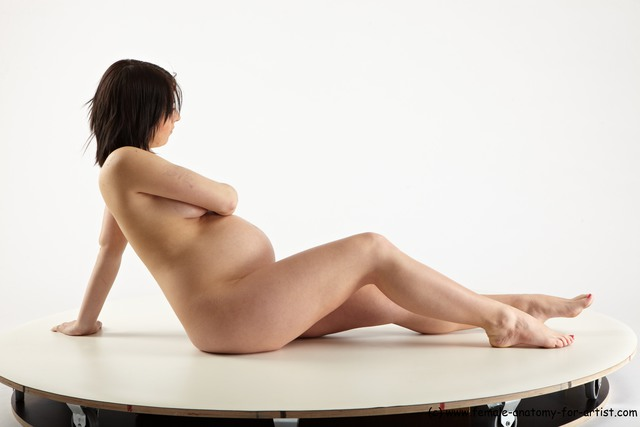 Nude Woman White Sitting poses - ALL Pregnant long brown Sitting poses - simple