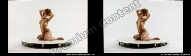 Nude Woman White Sitting poses - ALL Slim long red Sitting poses - simple 3D Stereoscopic poses
