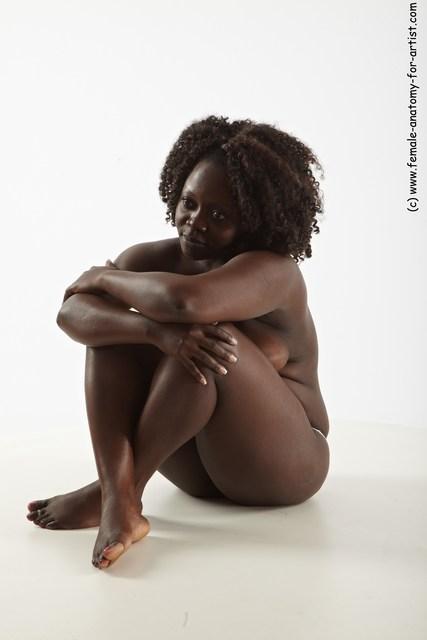 Underwear Woman Black Sitting poses - ALL Average medium black Sitting poses - simple