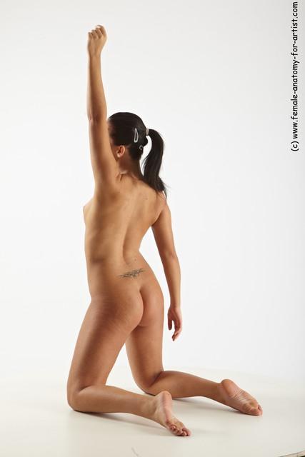Nude Woman White Kneeling poses - ALL Slim Kneeling poses - on both knees long black