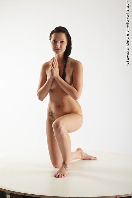 Nude Woman White Kneeling poses - ALL Slim Kneeling poses - on one knee long black