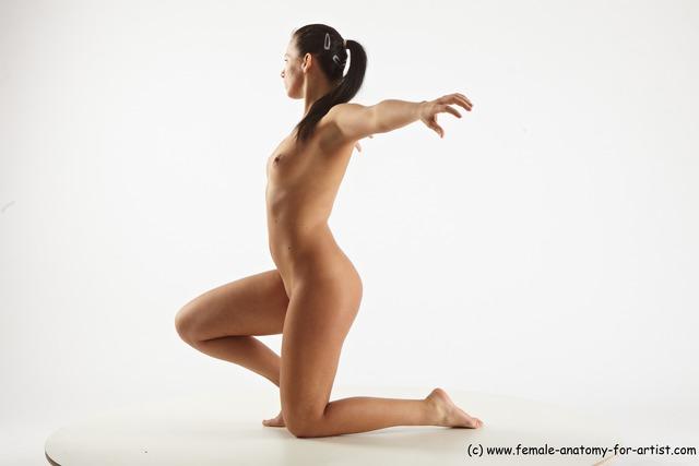 Nude Woman White Kneeling poses - ALL Slim Kneeling poses - on one knee long black