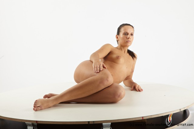 Nude Woman White Laying poses - ALL Slim Laying poses - on side long black