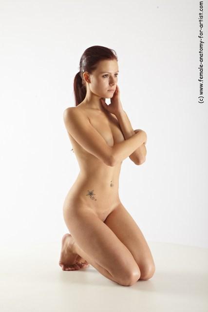 Nude Woman White Kneeling poses - ALL Slim Kneeling poses - on both knees long red