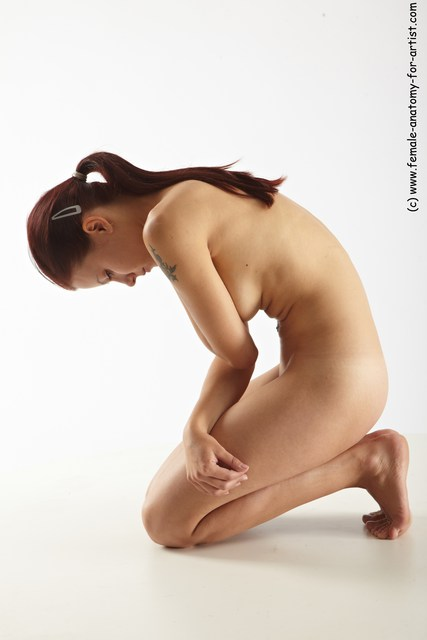 Nude Woman White Kneeling poses - ALL Slim Kneeling poses - on both knees long red