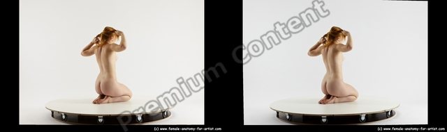 Nude Woman White Sitting poses - ALL Slim long red Sitting poses - on knees 3D Stereoscopic poses
