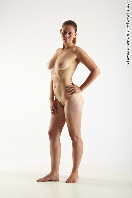 Nude Woman White Standing poses - ALL Slim long red Standing poses - simple