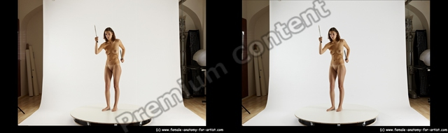 Nude Fighting with knife Woman White Standing poses - ALL Slim long brown Standing poses - simple 3D Stereoscopic poses