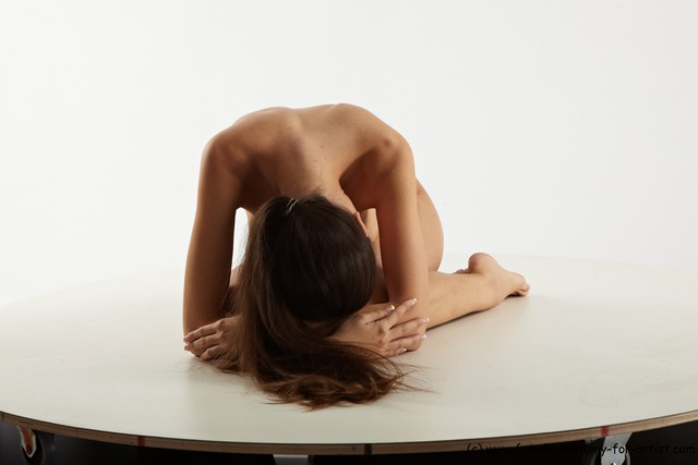 Nude Woman White Sitting poses - ALL Slim long brown Sitting poses - on knees