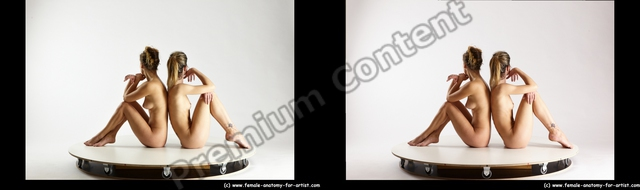 Nude Woman - Woman White Sitting poses - ALL Slim long blond Sitting poses - simple 3D Stereoscopic poses