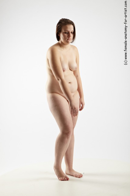 Nude Woman White Standing poses - ALL Overweight long brown Standing poses - simple