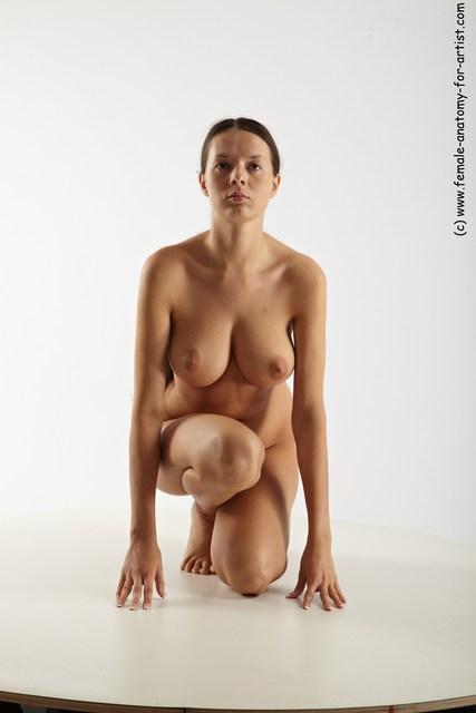 Nude Woman White Kneeling poses - ALL Slim Kneeling poses - on one knee long brown Multi angle poses