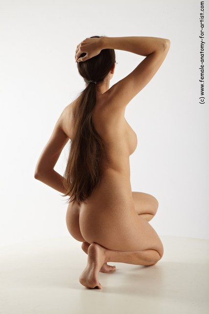 Nude Woman White Sitting poses - ALL Slim long brown Sitting poses - on knees Multi angle poses