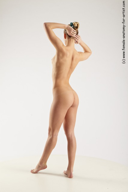Nude Woman White Standing poses - ALL Slim long blond Standing poses - simple