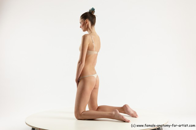 Underwear Woman White Kneeling poses - ALL Athletic Kneeling poses - on both knees long brown Multi angle poses